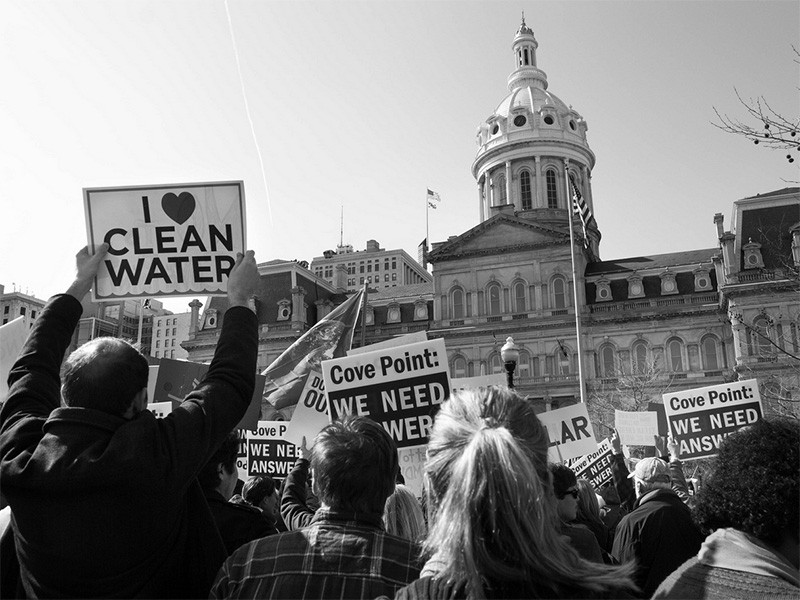 Opponents of the Dominion Resources project rally in Baltimore, MD.