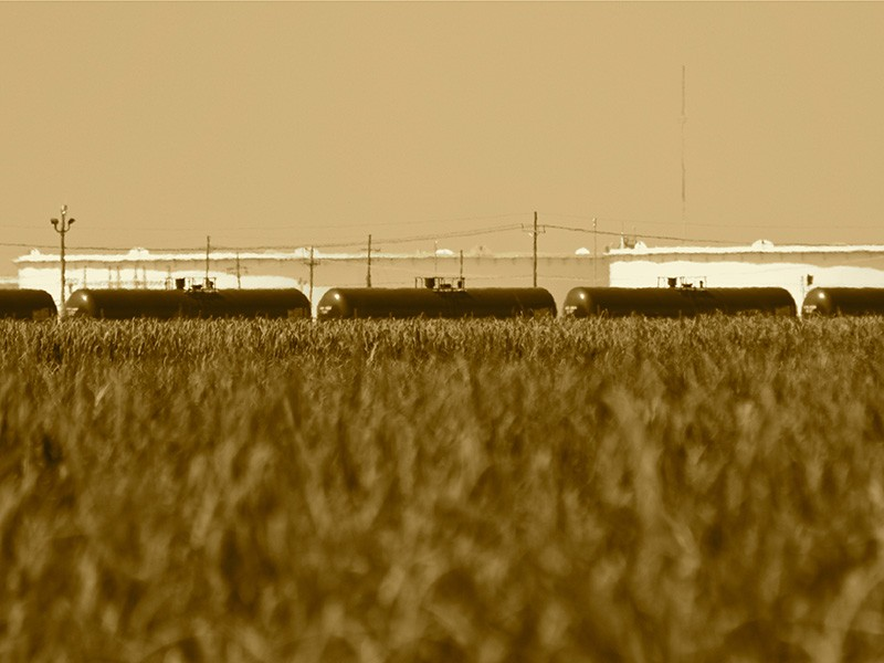 Crude oil tank cars.