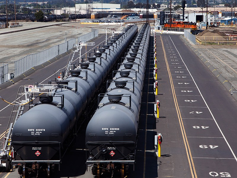 A crude oil train in the Richmond, CA, rail yard.
