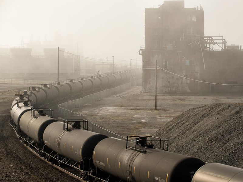 A train carrying crude oil from North Dakota passes through Washington state on its way to a refinery.