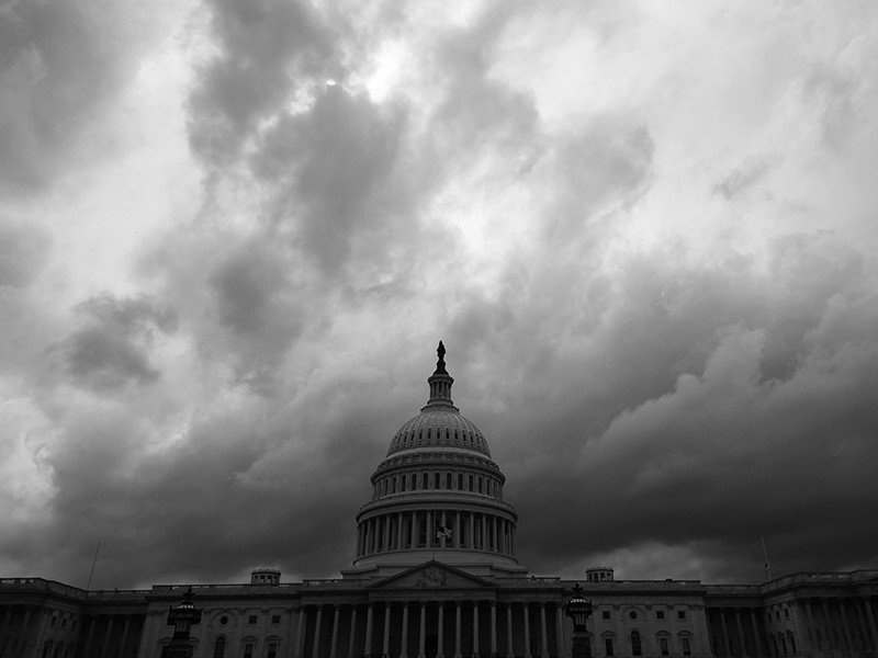 Storm clouds pass over the U.S. Capitol building in Washington, D.C.