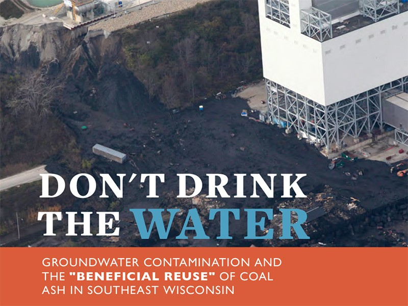 A bluff collapse near the Oak Creek Power Plant in Wisconsin that sent coal ash and debris into Lake Michigan.