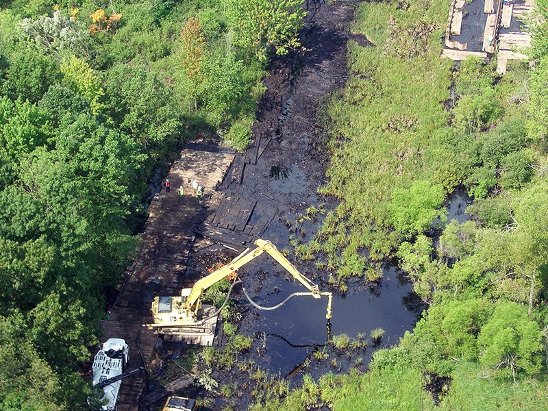 The aftermath of an Enbridge oil pipeline spill on Talmadge Creek near the Kalamazoo River in Michigan, on Aug. 1, 2010.