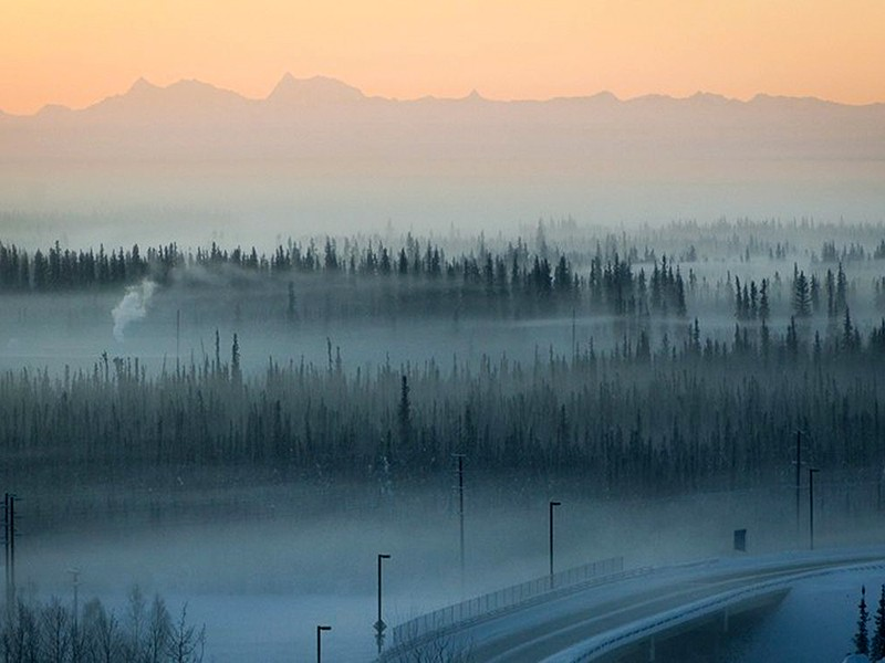 Air pollution hangs over Fairbanks, Alaska.
