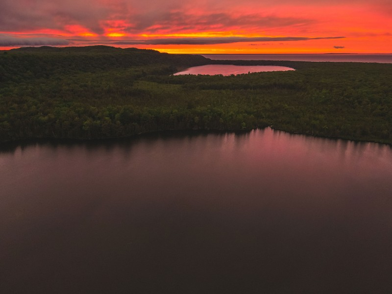 A view of Spectacle Lake, Monocle Lake and Lake Superior in Bay Mills, Mich.