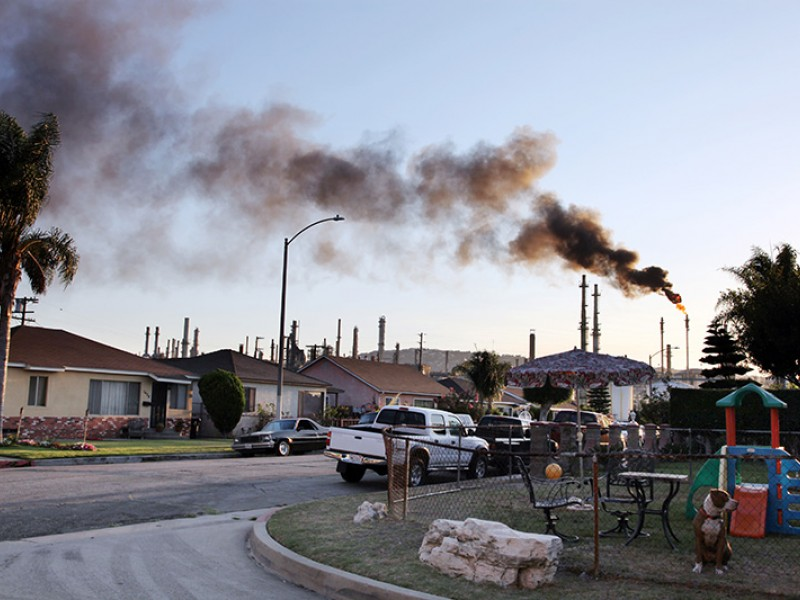 Flaring at a refinery located next to homes in Wilmington, CA.