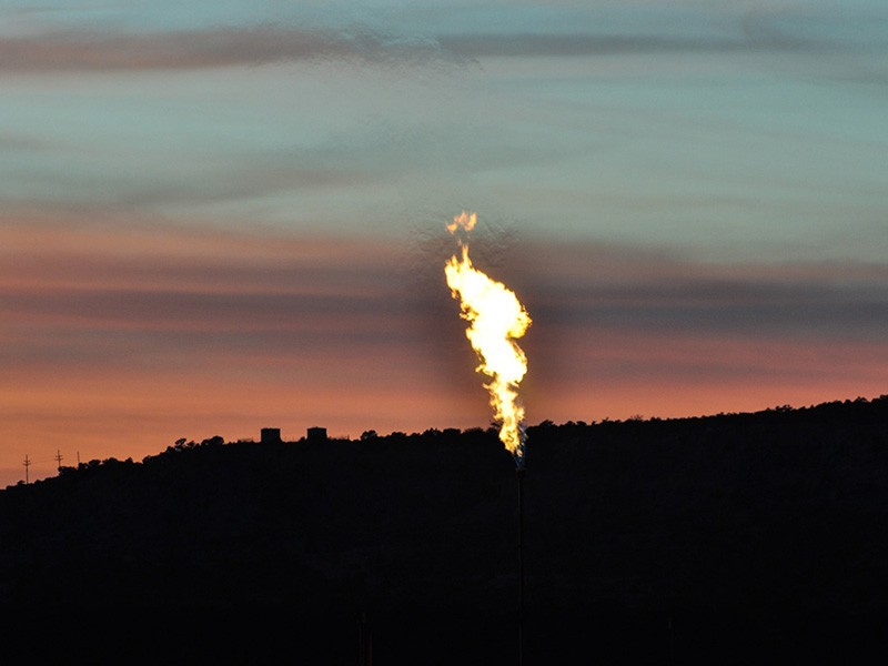 Flaring of methane gas associated with Mancos shale oil development.