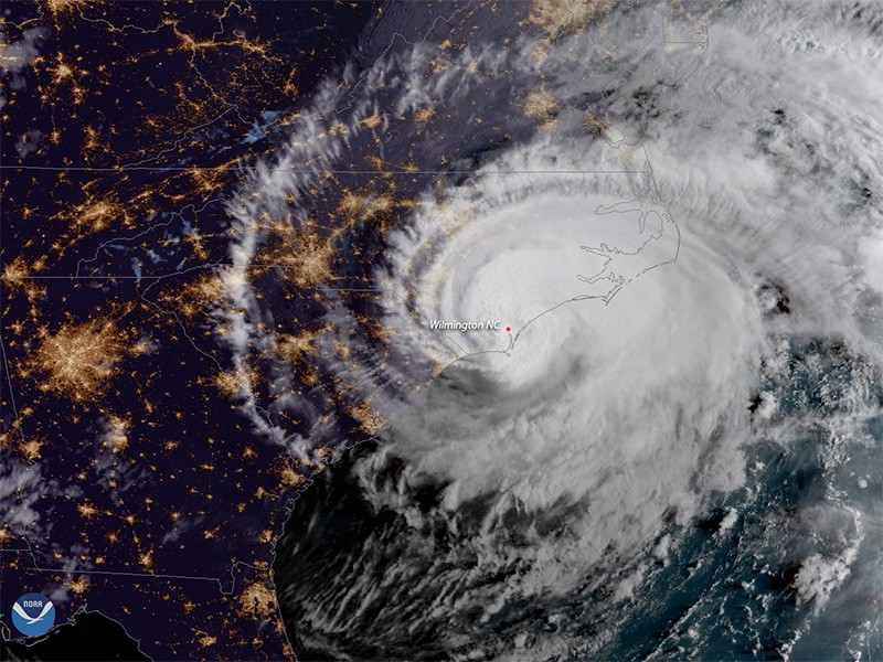 Hurricane Florence made landfall near Wrightsville Beach, North Carolina, at 7:15a.m. ET, Sept. 14, as a Category 1 storm. The GOES East satellite captured this geocolor image of the massive storm at 7:45a.m. ET, shortly after it moved ashore.