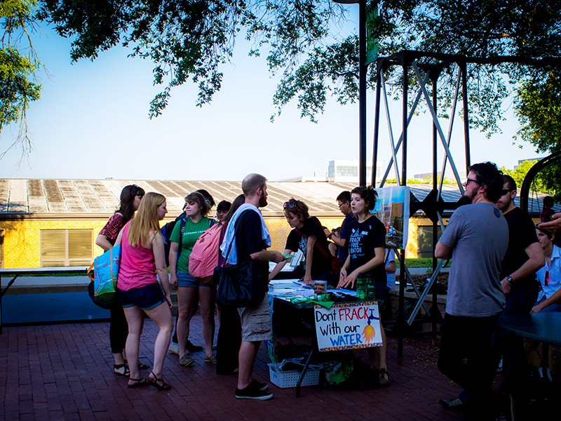 The Frack Free Denton booth at University of North Texas in Denton on Earth Day in 2014.