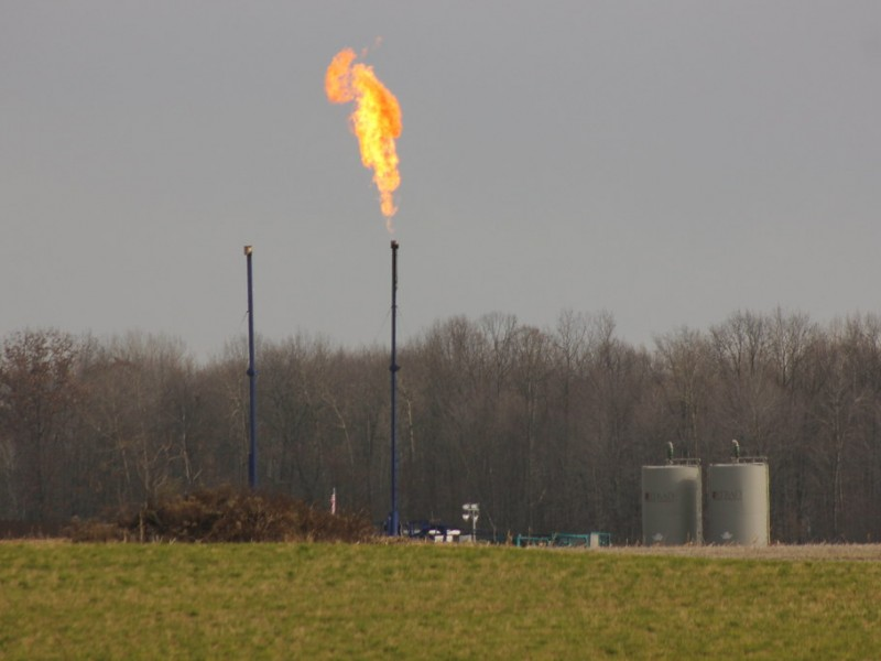 Flare up at fracking well