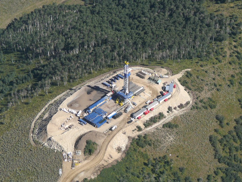 A fracking drill rig.