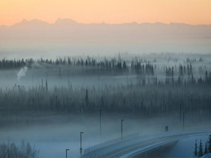 Pollution in Fairbanks, Alaska, during a winter heat inversion.
