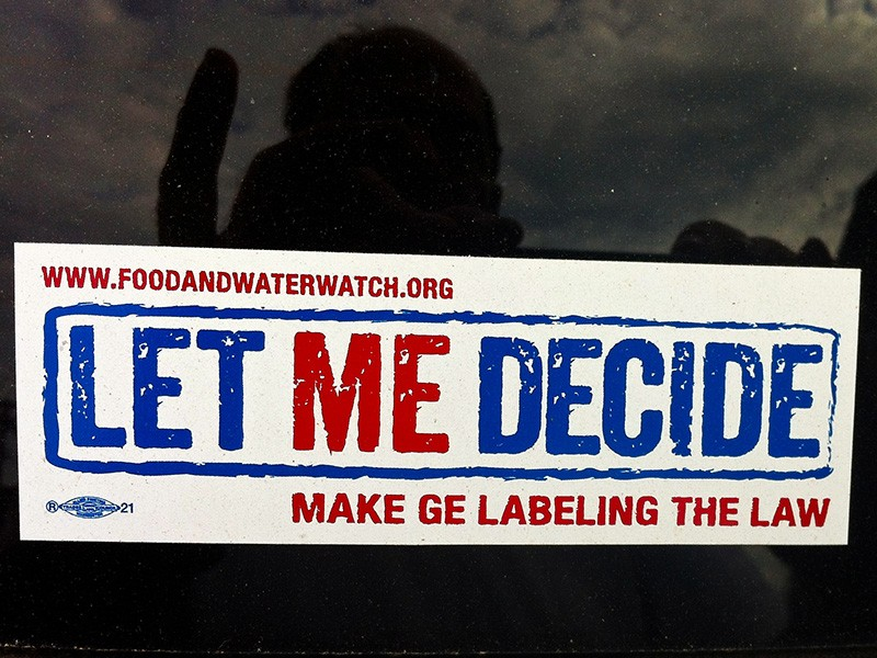 'Let ME (Maine) Decide' bumper sticker supporting GMO labeling.