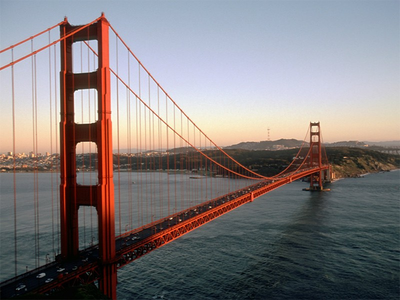San Francisco's iconic Golden Gate Bridge.
