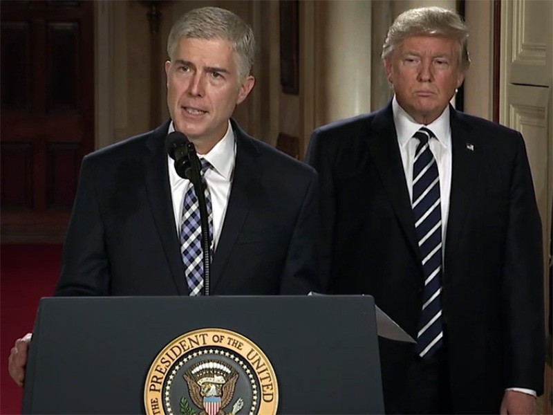 Judge Neil Gorsuch, nominee for Associate Justice to the U.S. Supreme Court, with President Donald Trump.
