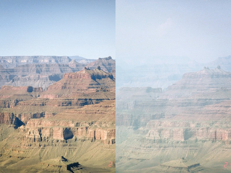 Two identical photos of Mount Trumbull in Grand Canyon National Park demonstrating the change in air quality due to regional haze pollution.