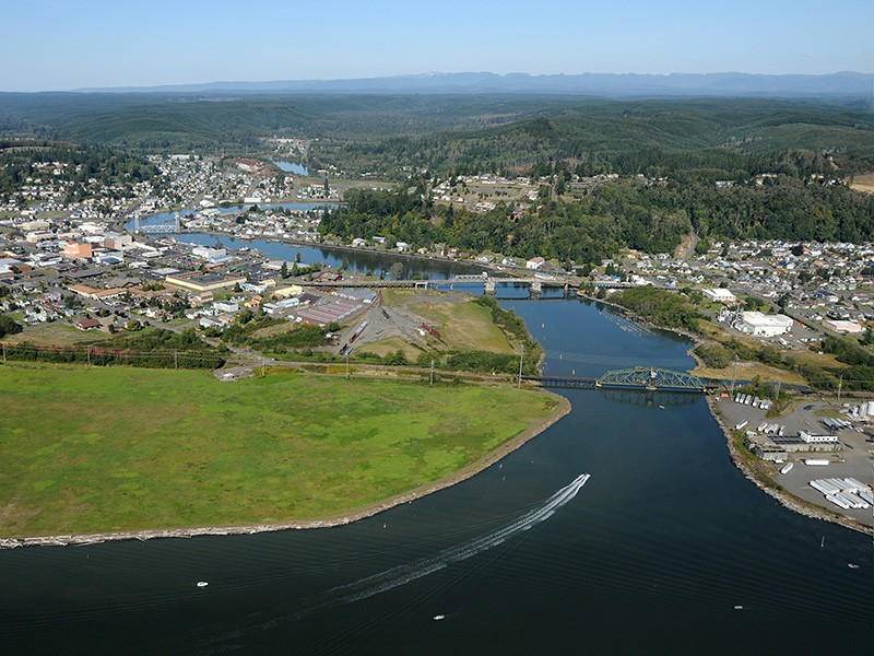 Aerial view of Grays Harbor, WA.