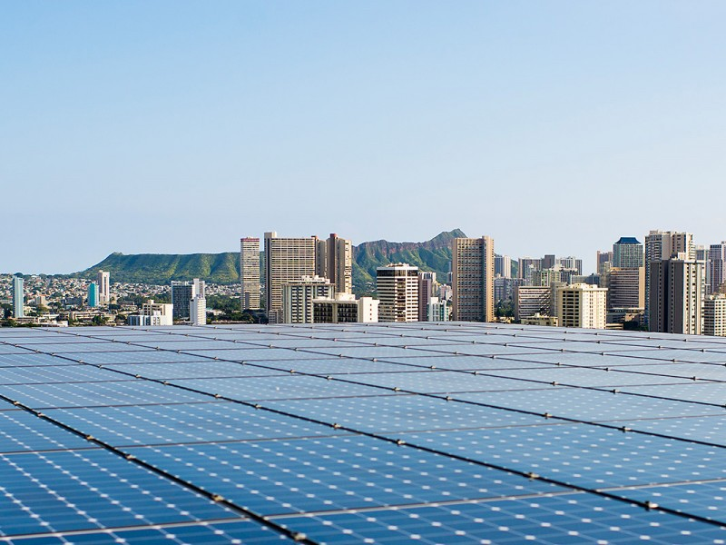Solar panels on the roof of the parking garage at Kapiolani Medical Center in O'ahu, Hawai'i.