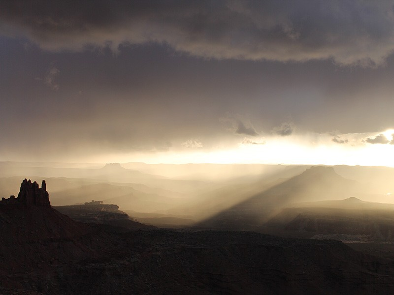Haze obscures the view at Canyonlands National Park.