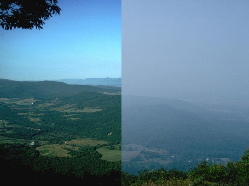 Split view of clear and hazy days in Shenandoah National Park.