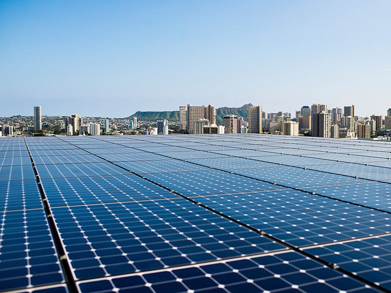 Solar panels on the roof of the Kapiʻolani Medical Center parking garage in Oahu, Hawai'i.