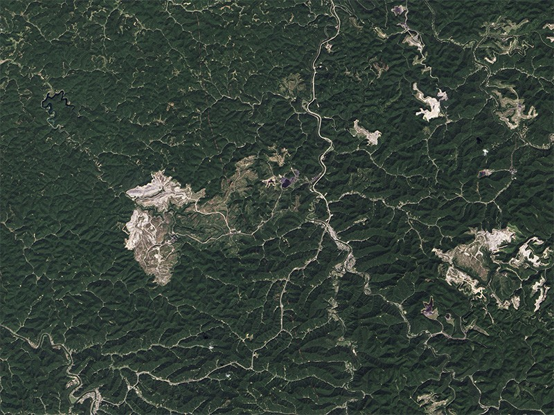 Satellite imagery of the massive Hobet mine, taken in 2013.