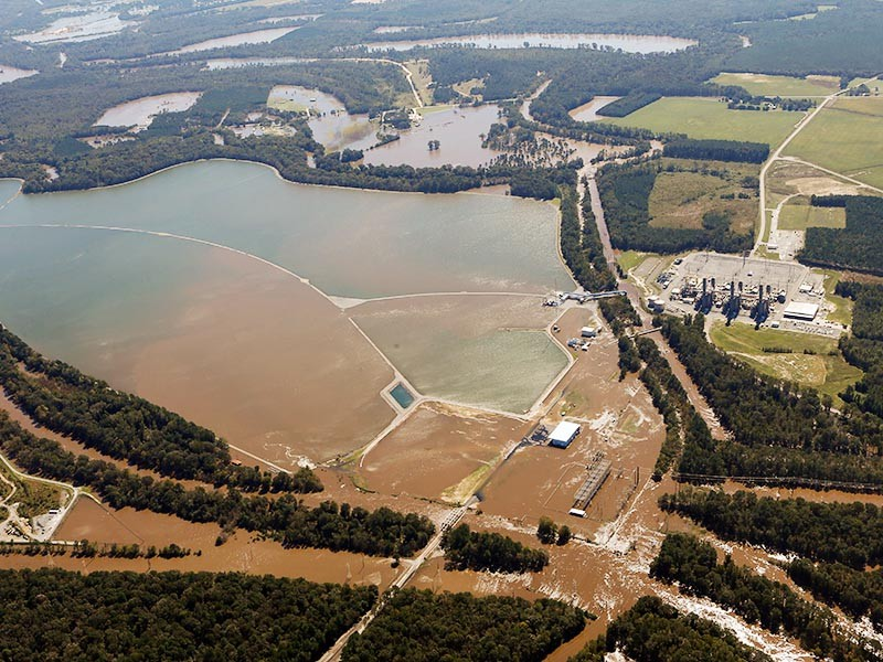 Image of North Carolina coal power plants and coal ash storage pits that were flooded during Hurricane Matthew in 2016.