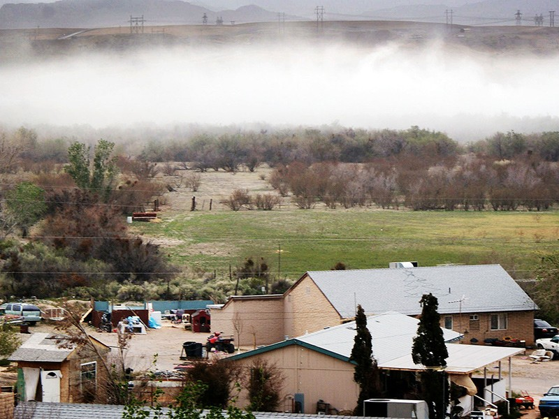 A cloud of toxic coal ash is seen blowing like a sandstorm straight at the homes on the Moapa River Reservation.