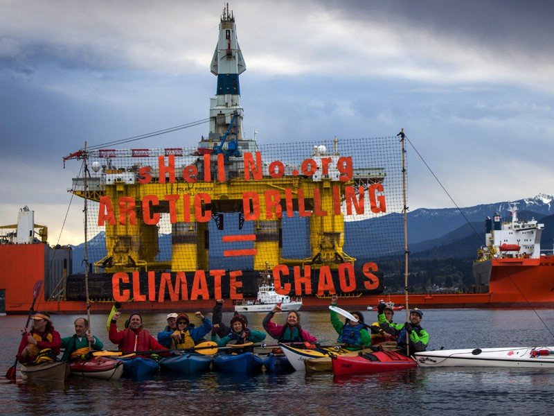 Kayaktivists rally against Shell Oil and Arctic drilling in the Port of Seattle.