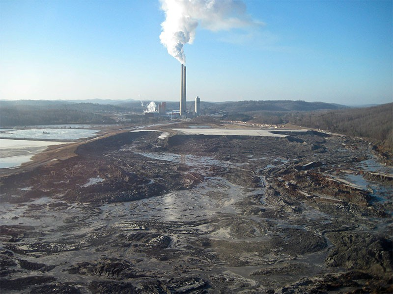 The devastating coal ash spill in Kingston, TN, in December of 2008.