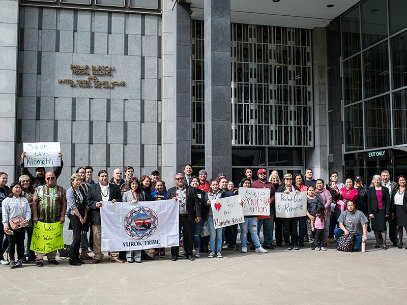 Members of the Yurok Tribe and Earthjustice gather outside a San Francisco courthouse in 2018.