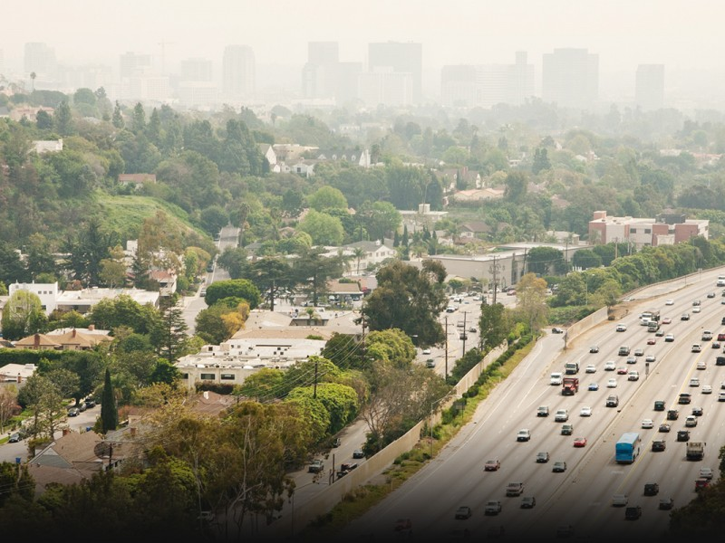 The 405 freeway on a smoggy California day.