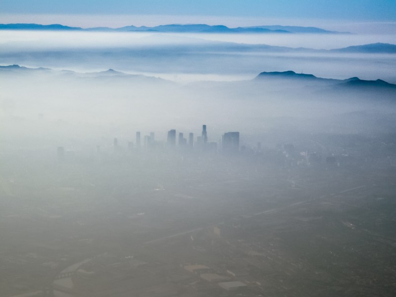 An aerial view of smog in Los Angeles, California.