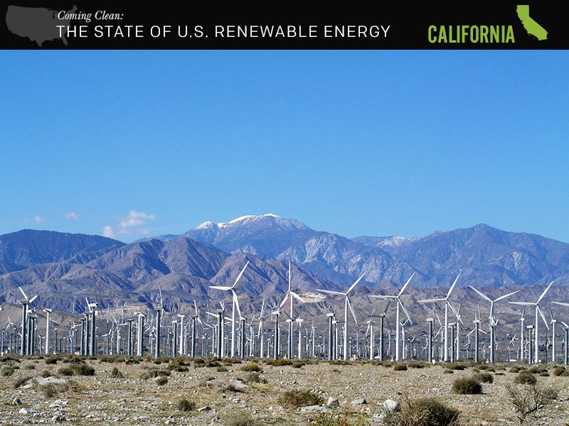 A wind farm located along I-10, west of Palm Springs, California.