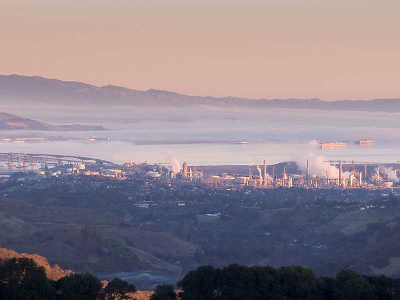 A refinery in the city of Martinez, next to the San Francisco Bay. The region is already heavily contaminated by the effects of Tesoro's and other nearby refineries.