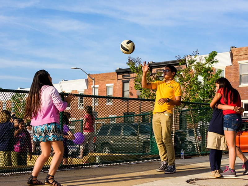 Kids play in Baltimore's Paterson Park on May 14, 2015.