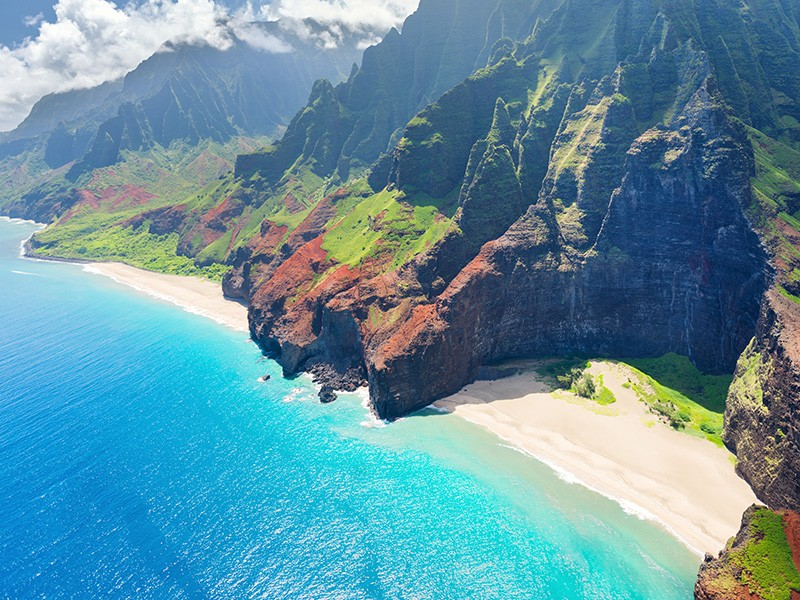 An aerial view on Na Pali coast on Kauai island in Hawaii.