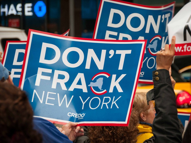 Activists in New York protesting fracking before the ban.