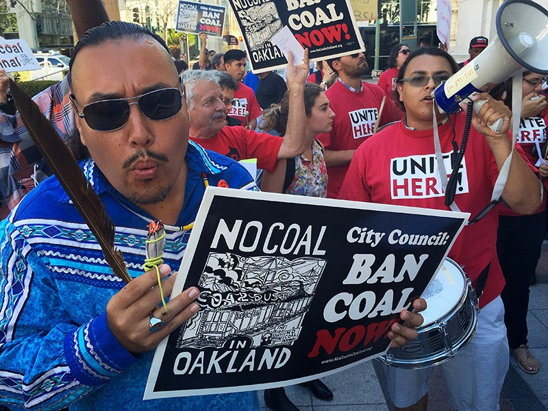 Residents of west Oakland, Calif., rallied against a coal export facility in 2016.