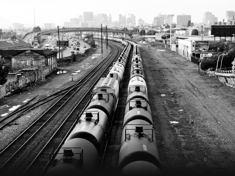 Oil trains in a Oakland, CA, railyard.