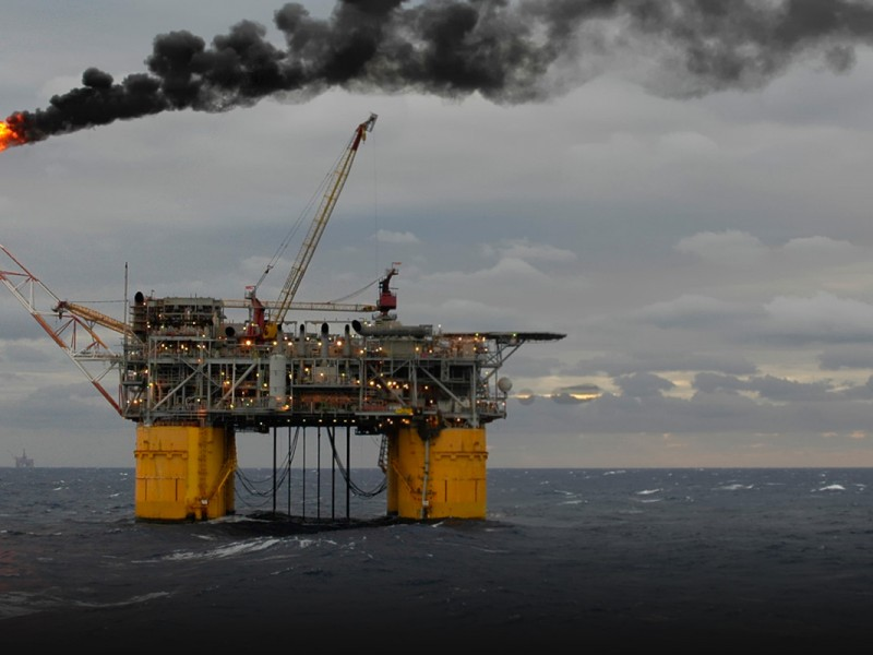 An offshore production oil rig.