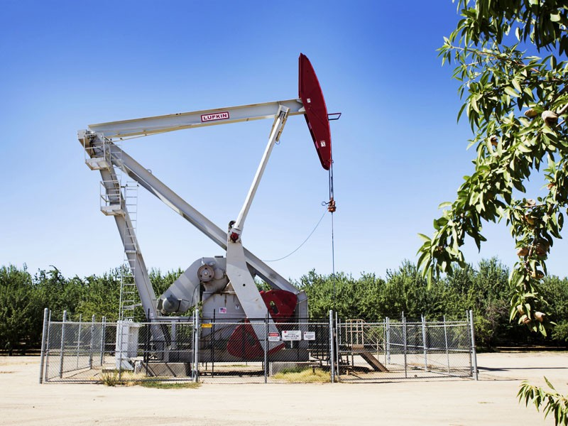 An oil pumpjack towers above almond orchards in Shafter, CA, a small city in Kern County.