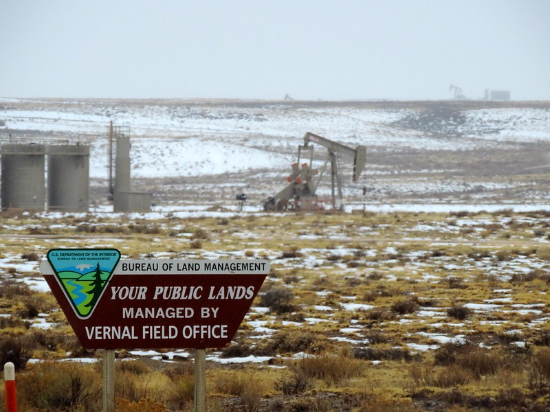 Drilling on public lands in Vernal, Utah that is managed by the Bureau of Land Management