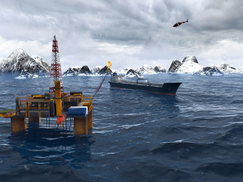 Oil platform in the Arctic.