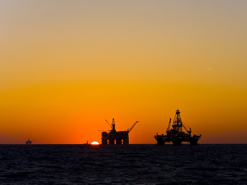 Oil platforms in the Gulf of Mexico.