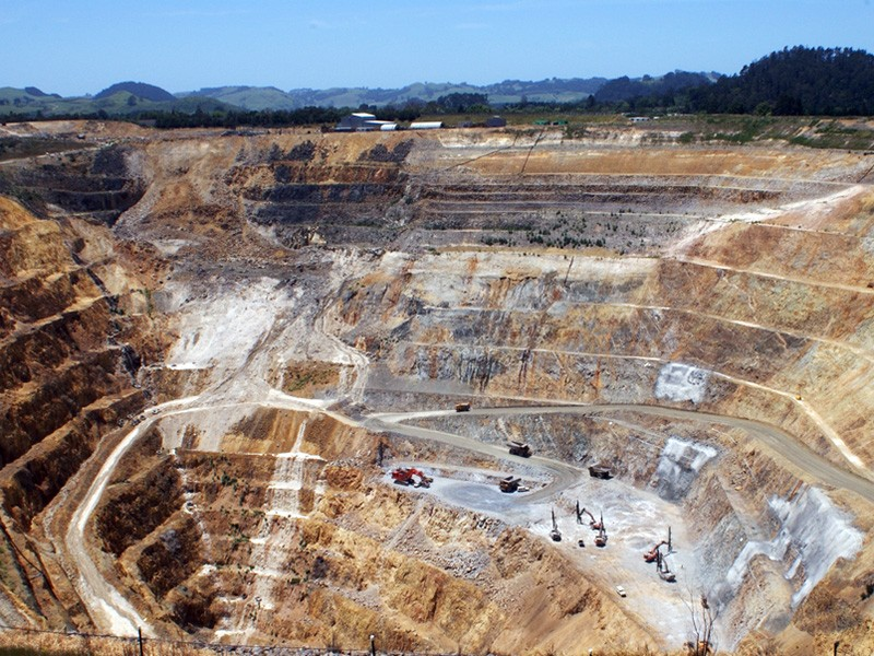 An open pit gold and silver mine in New Zealand.