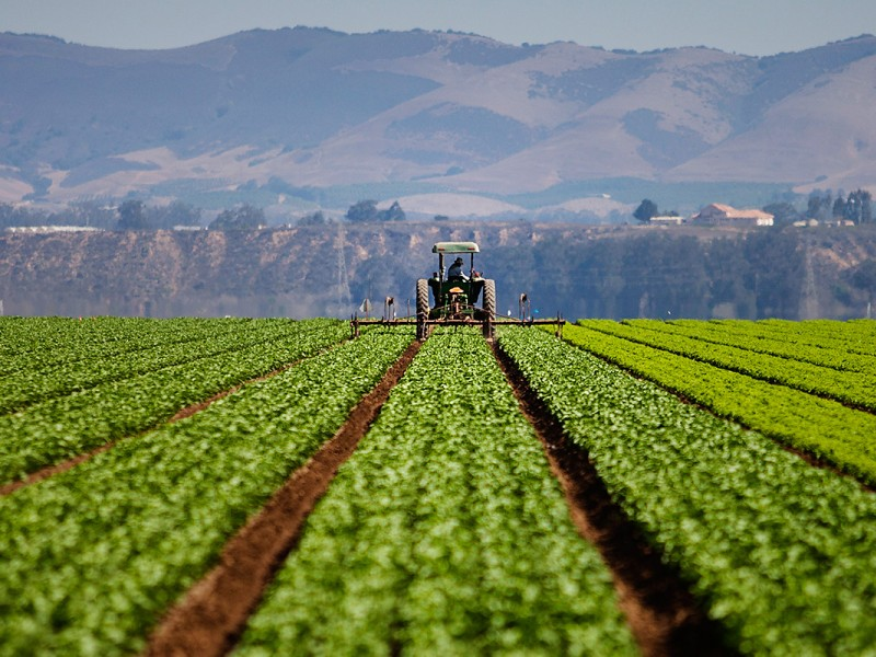 A tractor works a farm field in Southern California.