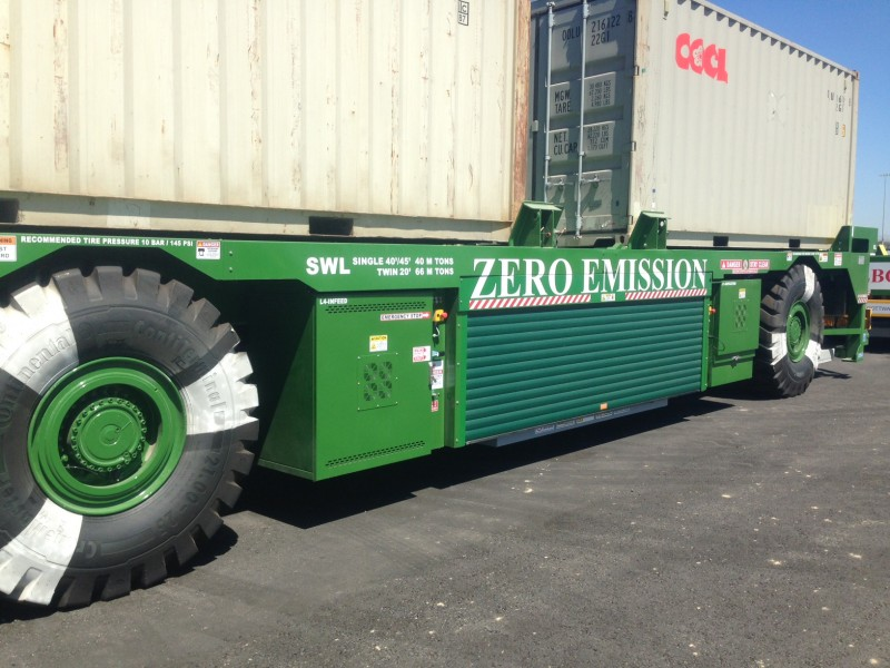A zero emissions truck at the Port of Long Beach, California.