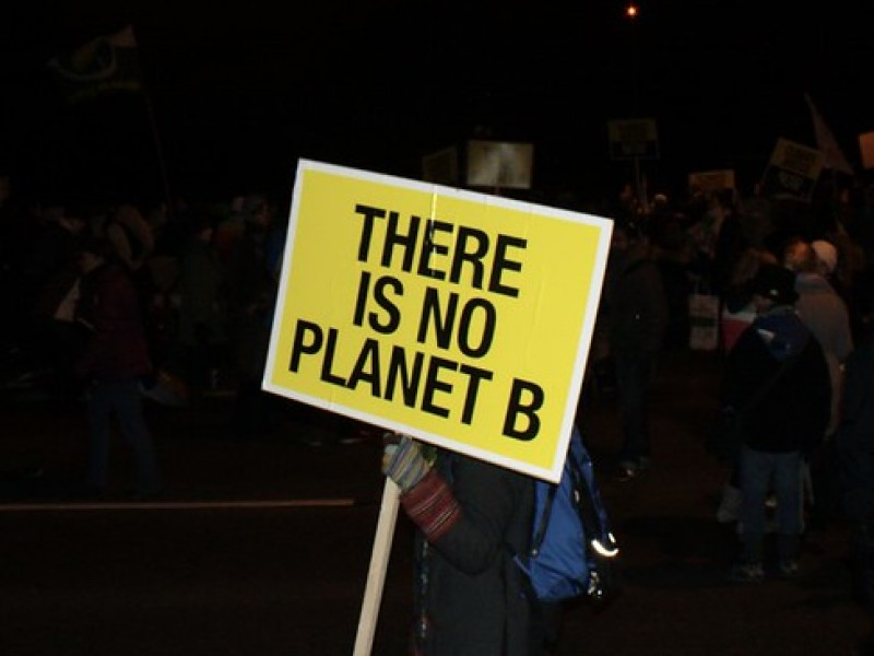 """Protest sign saying """"there is no planet B"""""""