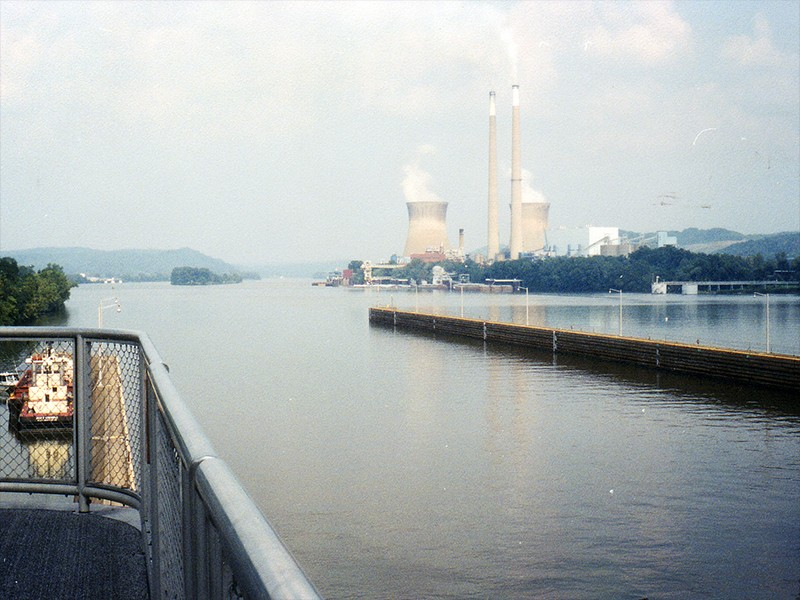 The Pleasants power plant in West Virginia, viewed from the visitor platform at Willow Island Locks and Dam.